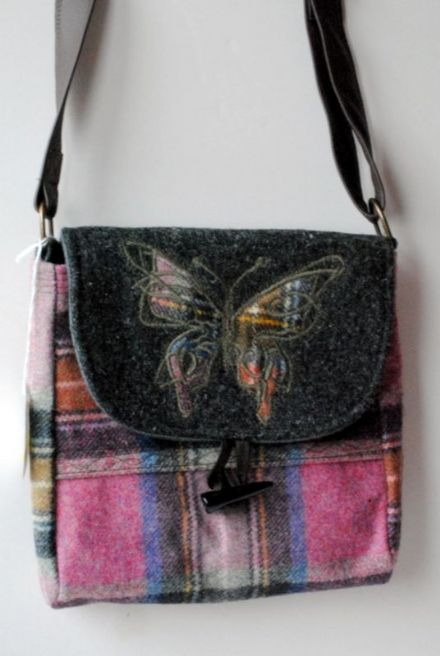 T14 Tulloch Designs Pink and Grey Check Tweed Shoulder Bag with Butterfly Design